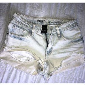 Pants - Acid washed denim jean shorts